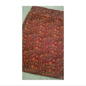 Lularoe Cassie Midi Pencil Skirt Red Floral Print